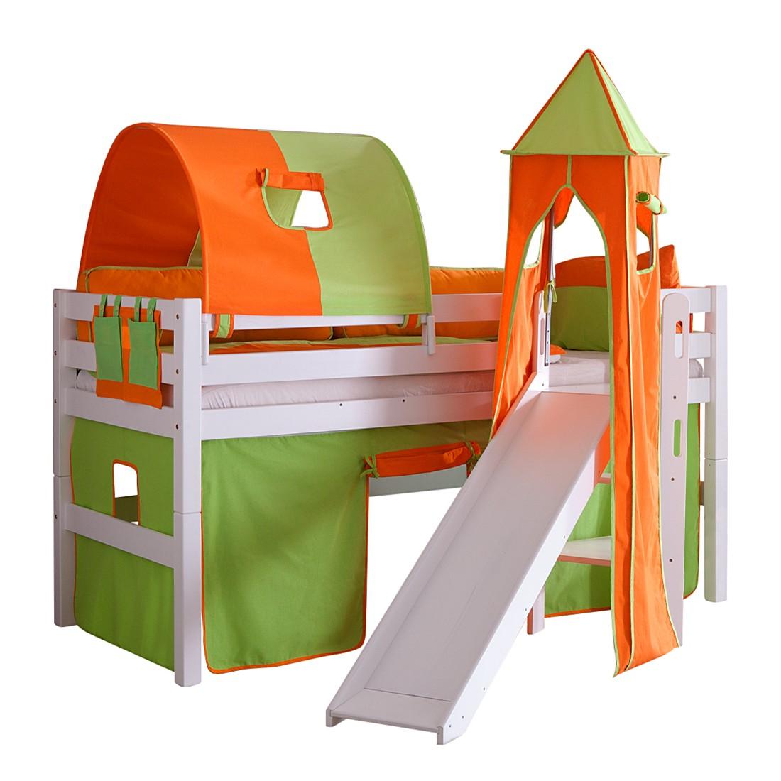 Spielbett Eliyas - mit Rutsche, Vorhang, Tunnel, Turm und Tasche - Buche weiß/Textil grün-orange, Relita