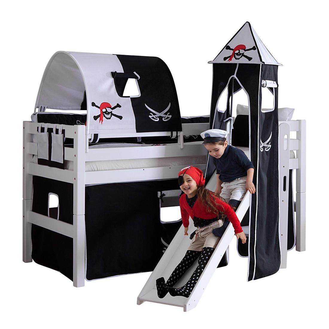 Spielbett Eliyas - mit Rutsche, Vorhang, Tunnel, Turm und Tasche - Buche weiß/Textil Pirat, Relita