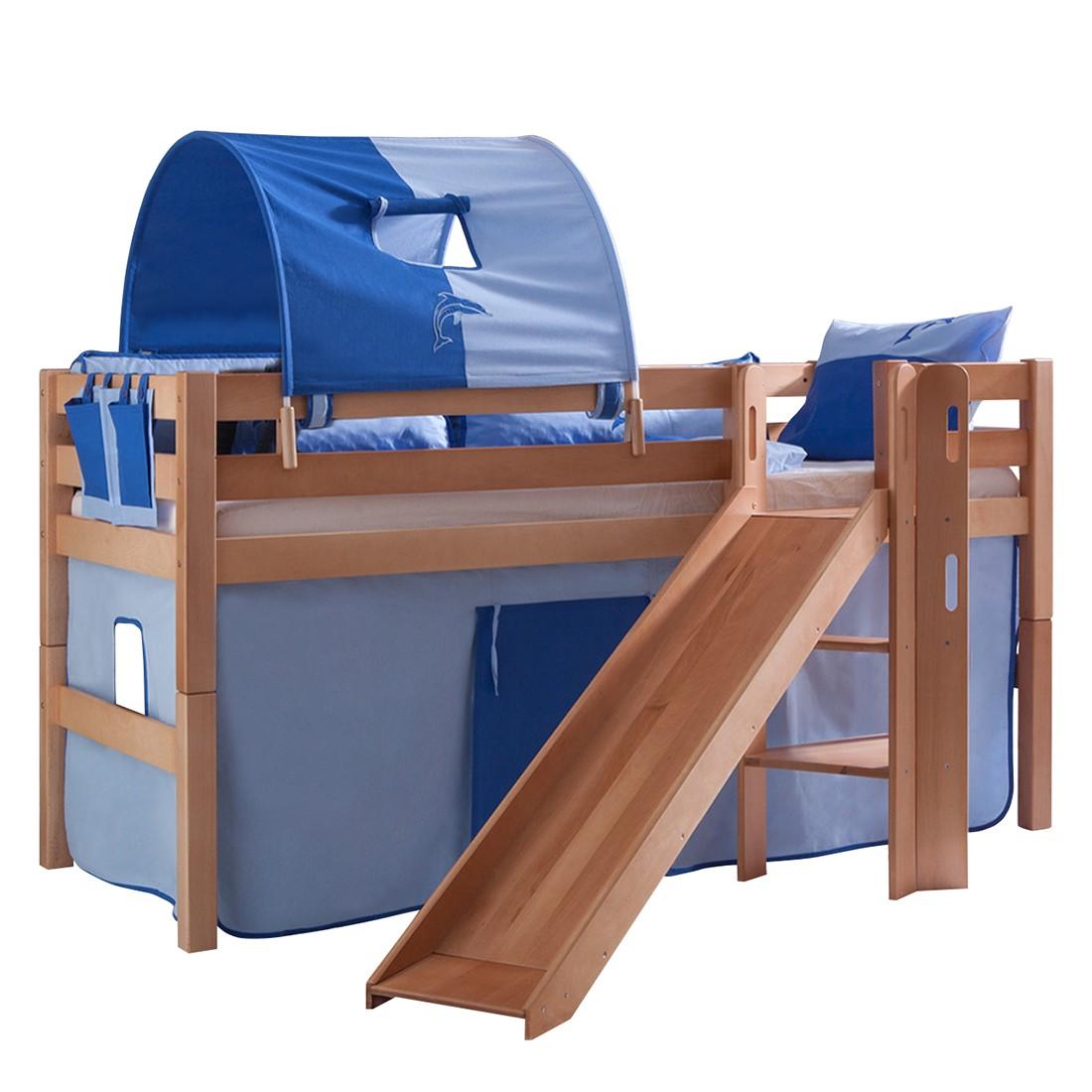 Spielbett Eliyas - mit Rutsche, Vorhang, Tunnel und Tasche - Buche natur/Textil blau-delfin, Relita