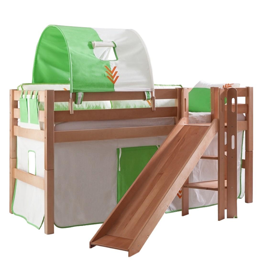 Spielbett Eliyas - mit Rutsche, Vorhang, Tunnel und Tasche - Buche natur/Textil Indianer, Relita