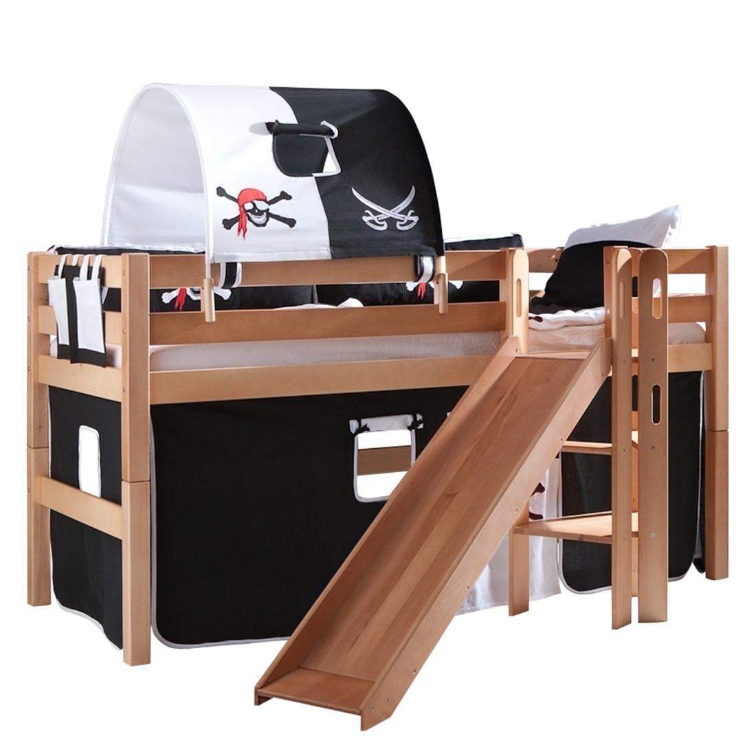 Spielbett Eliyas - mit Rutsche, Vorhang, Tunnel und Tasche - Buche natur/Textil Pirat, Relita