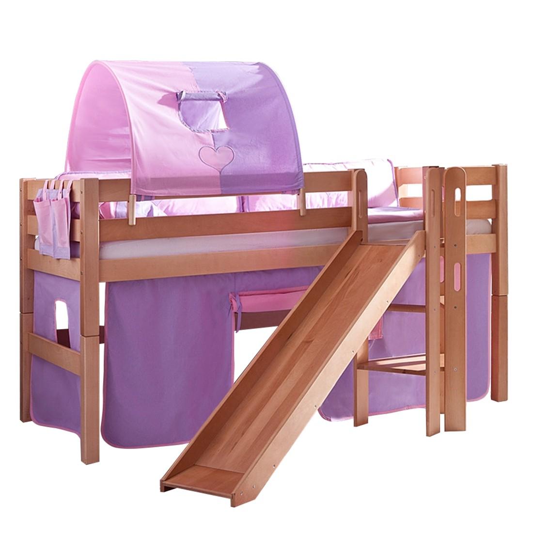Spielbett Eliyas - mit Rutsche, Vorhang, Tunnel und Tasche - Buche natur/Textil purple-rosa-herz, Relita