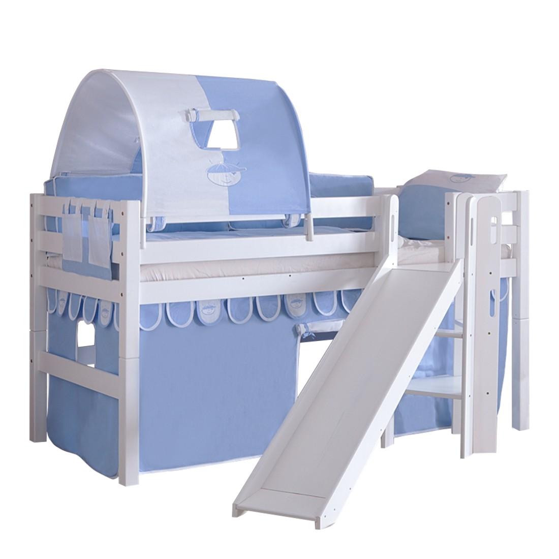 Spielbett Eliyas - mit Rutsche, Vorhang, Tunnel und Tasche - Buche weiß/Textil Blau-Boy, Relita