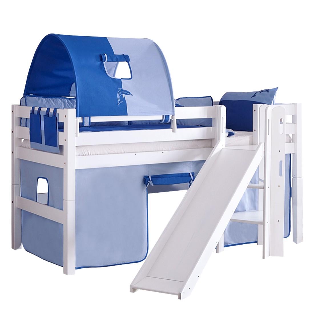 Spielbett Eliyas - mit Rutsche, Vorhang, Tunnel und Tasche - Buche weiß/Textil blau-delfin, Relita