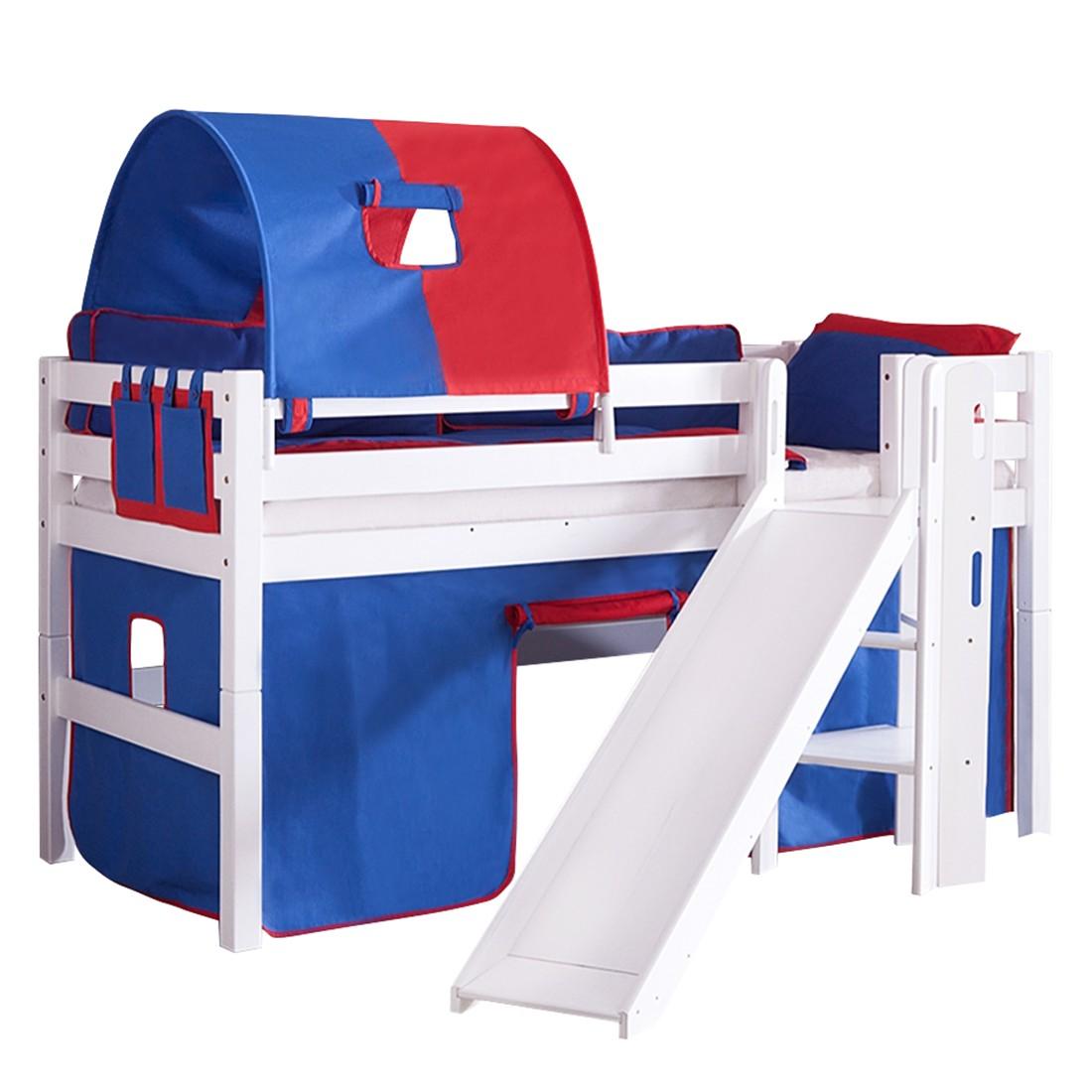 Spielbett Eliyas - mit Rutsche, Vorhang, Tunnel und Tasche - Buche weiß/Textil blau-rot, Relita