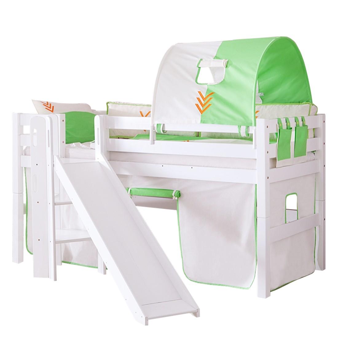 Spielbett Eliyas - mit Rutsche, Vorhang, Tunnel und Tasche - Buche weiß/Textil Indianer, Relita