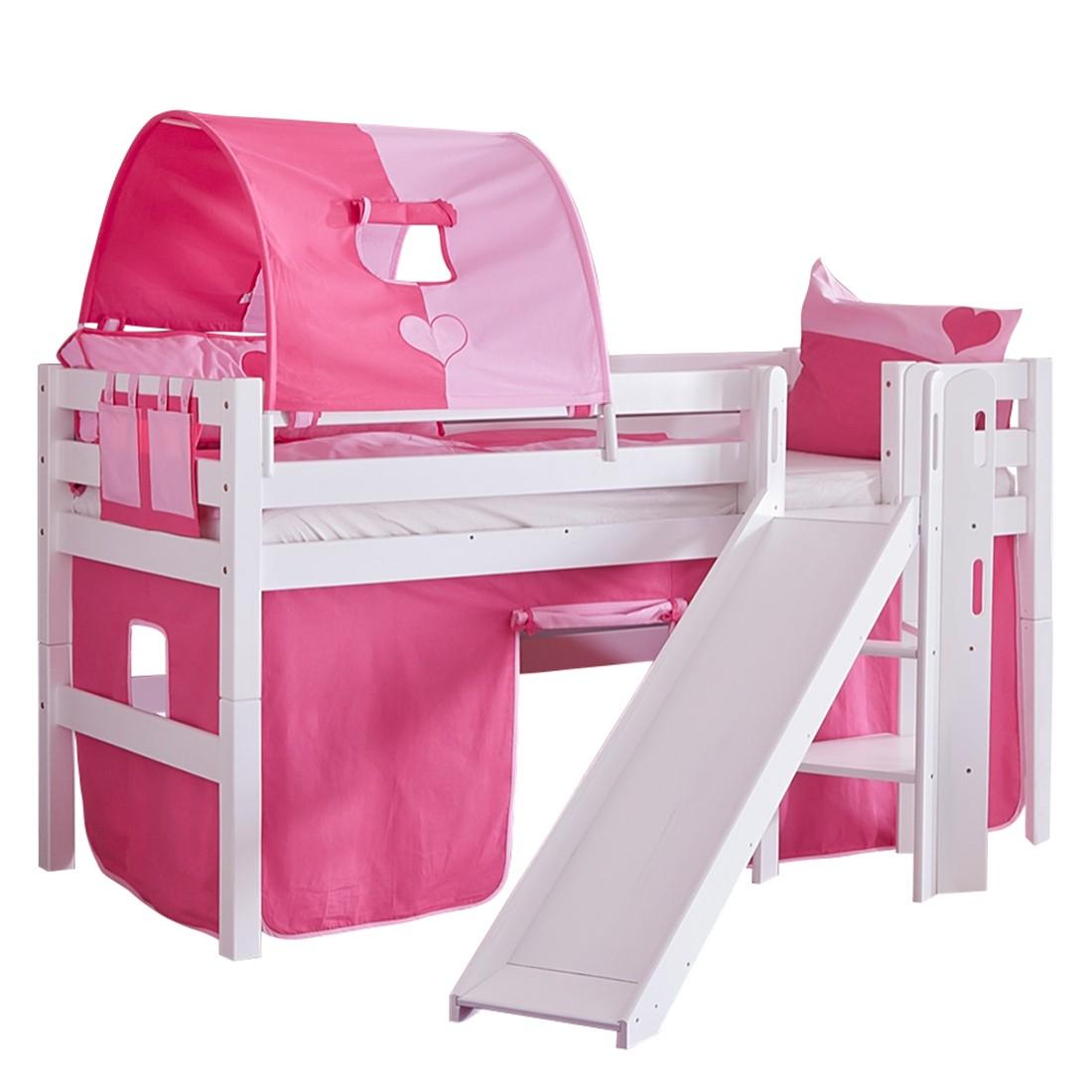 Spielbett Eliyas - mit Rutsche, Vorhang, Tunnel und Tasche - Buche weiß/Textil pink-herz, Relita