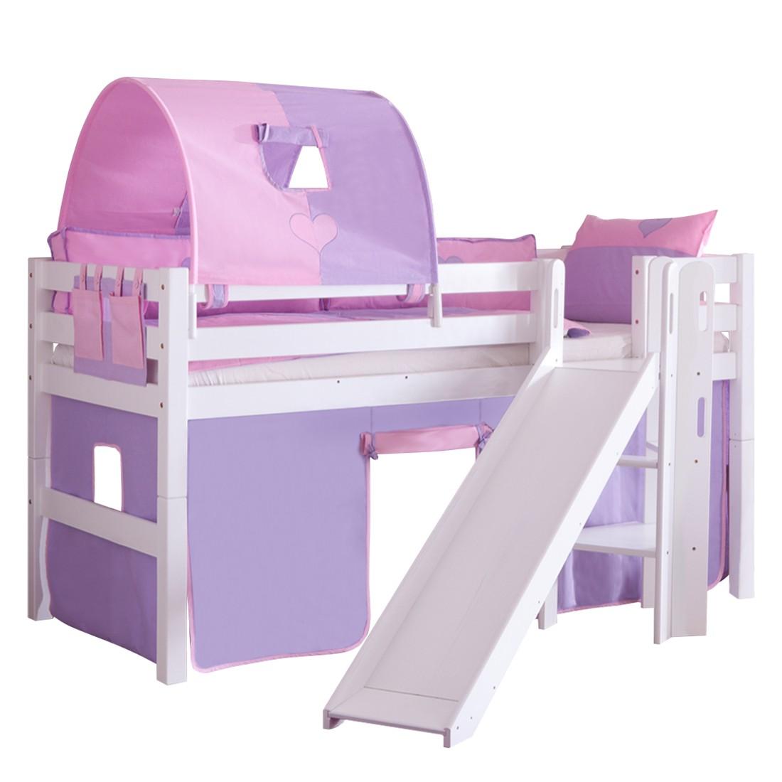 Spielbett Eliyas - mit Rutsche, Vorhang, Tunnel und Tasche - Buche weiß/Textil purple-rosa-herz, Relita
