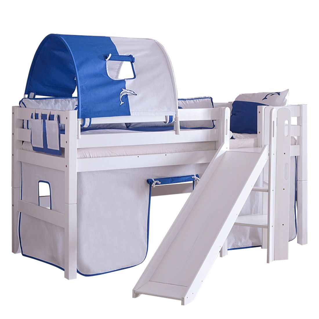 Spielbett Eliyas - mit Rutsche, Vorhang, Tunnel und Tasche - Buche weiß/Textil weiß-delfin, Relita