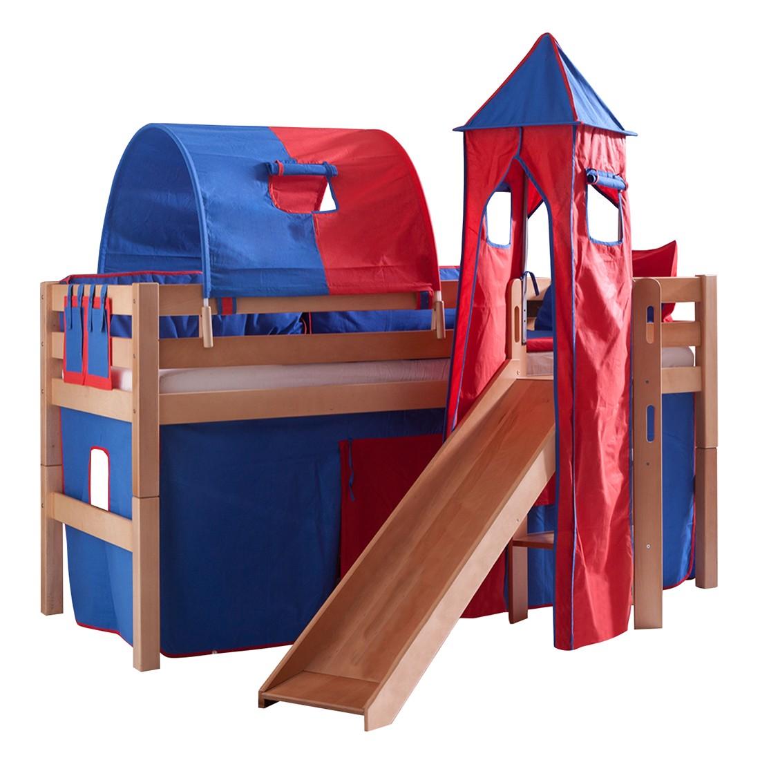 Spielbett Eliyas - Rutsche, Vorhang, Tunnel, Turm und Tasche - Buche natur/Textil blau-rot, Relita