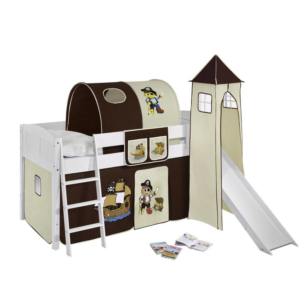 Home 24 - Lit mezzanine ludique ida pirate brun - évolutif - rideaux - blanc - toboggan, lilokids