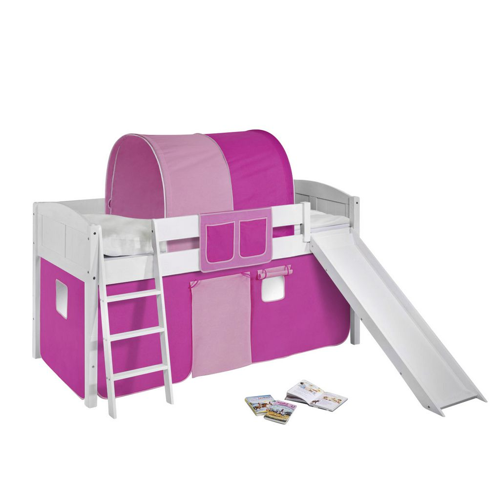 Spielbett IDA - Kiefer massiv - Weiß/Rosa-Rosa - mit Rutsche, Lilokids