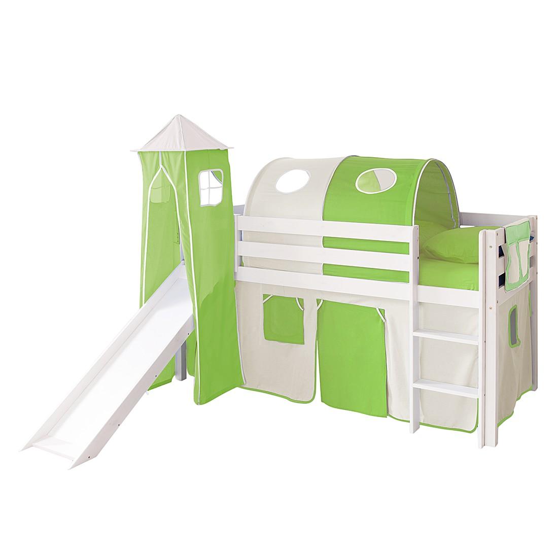 Home 24 - Lit ludique kasper ii - pin massif beige / vert modèle de base, ticaa