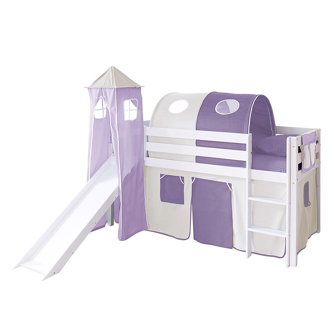 Home 24 - Lit ludique kasper ii - pin massif beige / violet modèle de base, ticaa