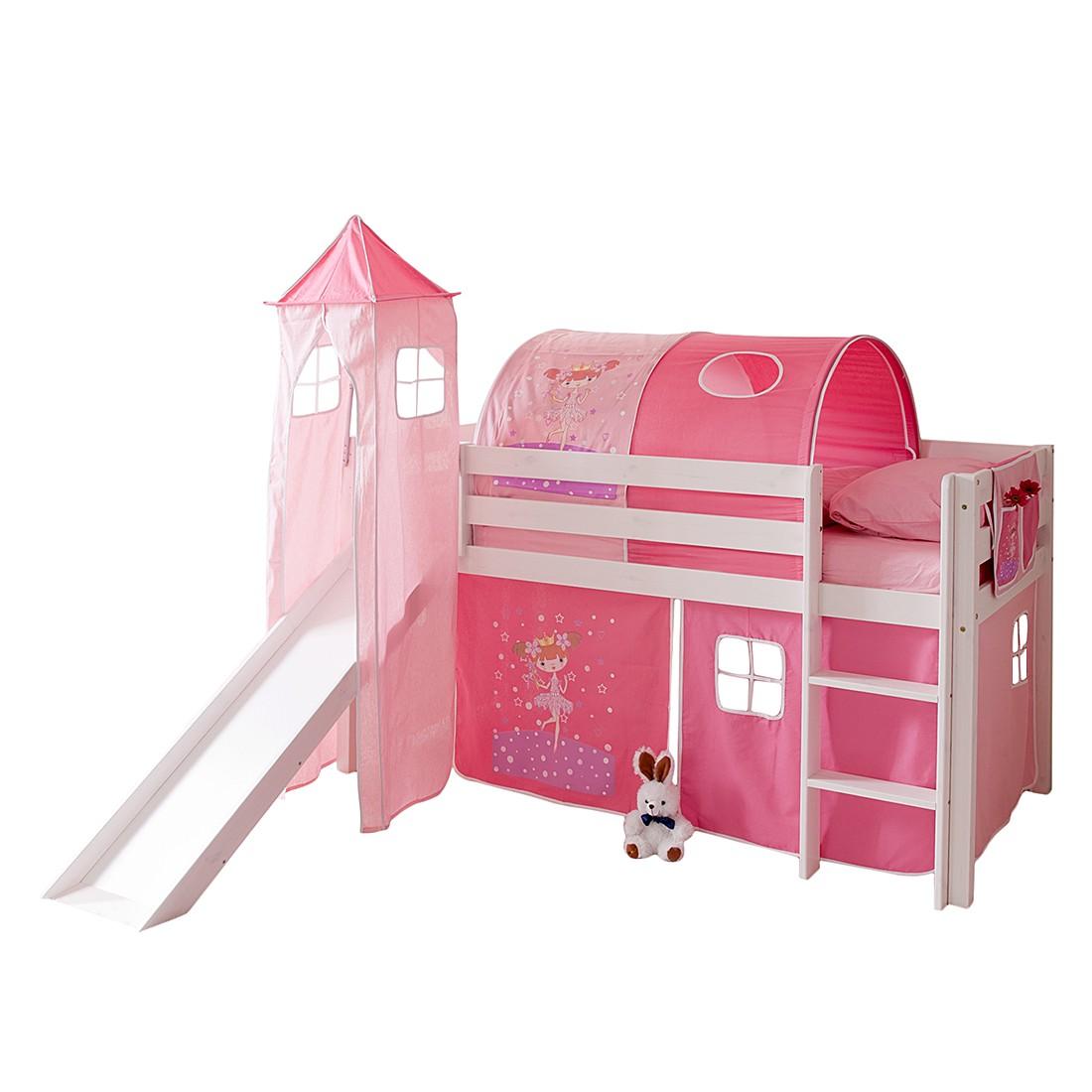 Home 24 - Lit ludique kasper ii - pin massif rose / vif avec tunnel, ticaa