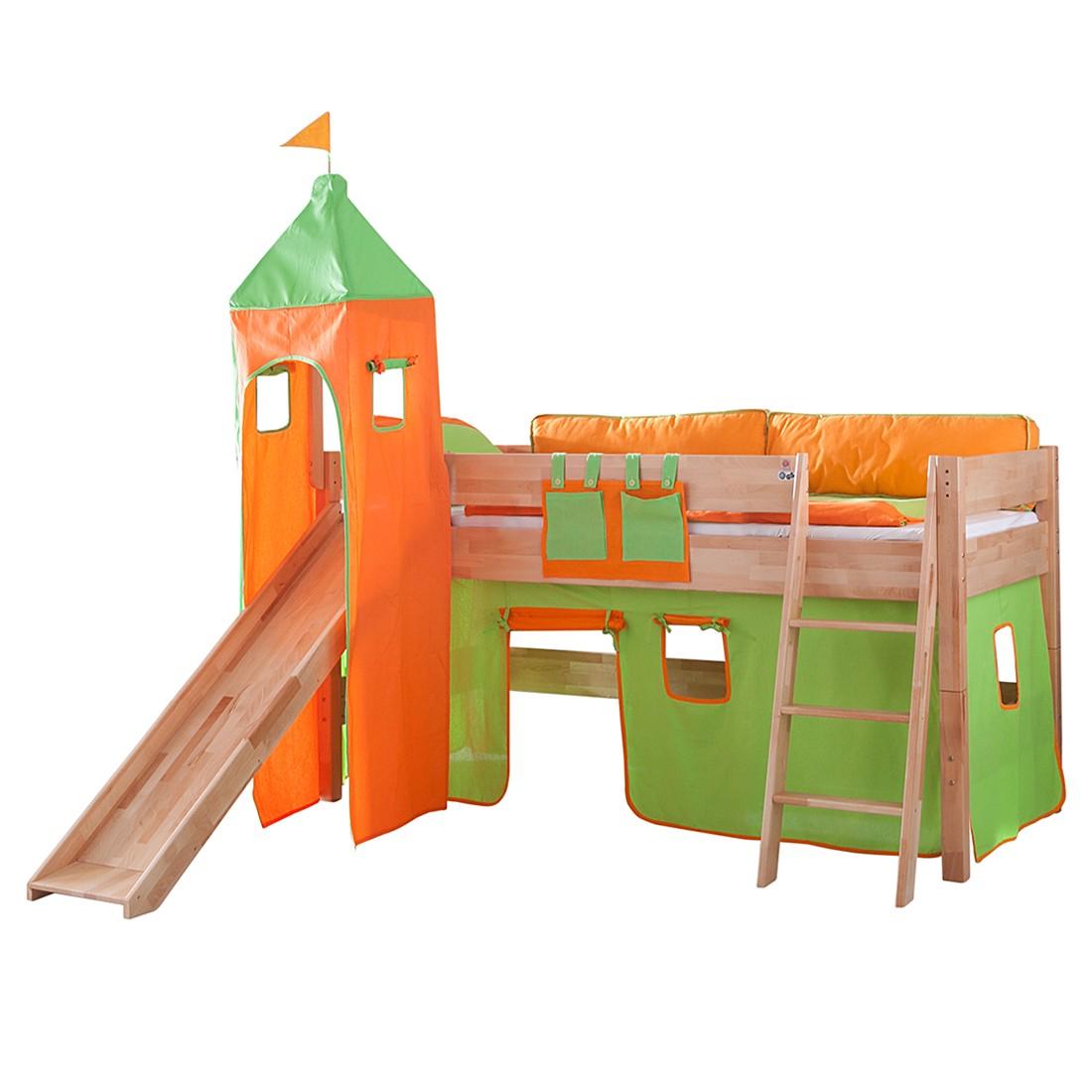 Spielbett Kim - Buche massiv - Natur lackiert - mit Rutsche, Turm und Textilset in Grün/Orange, Relita