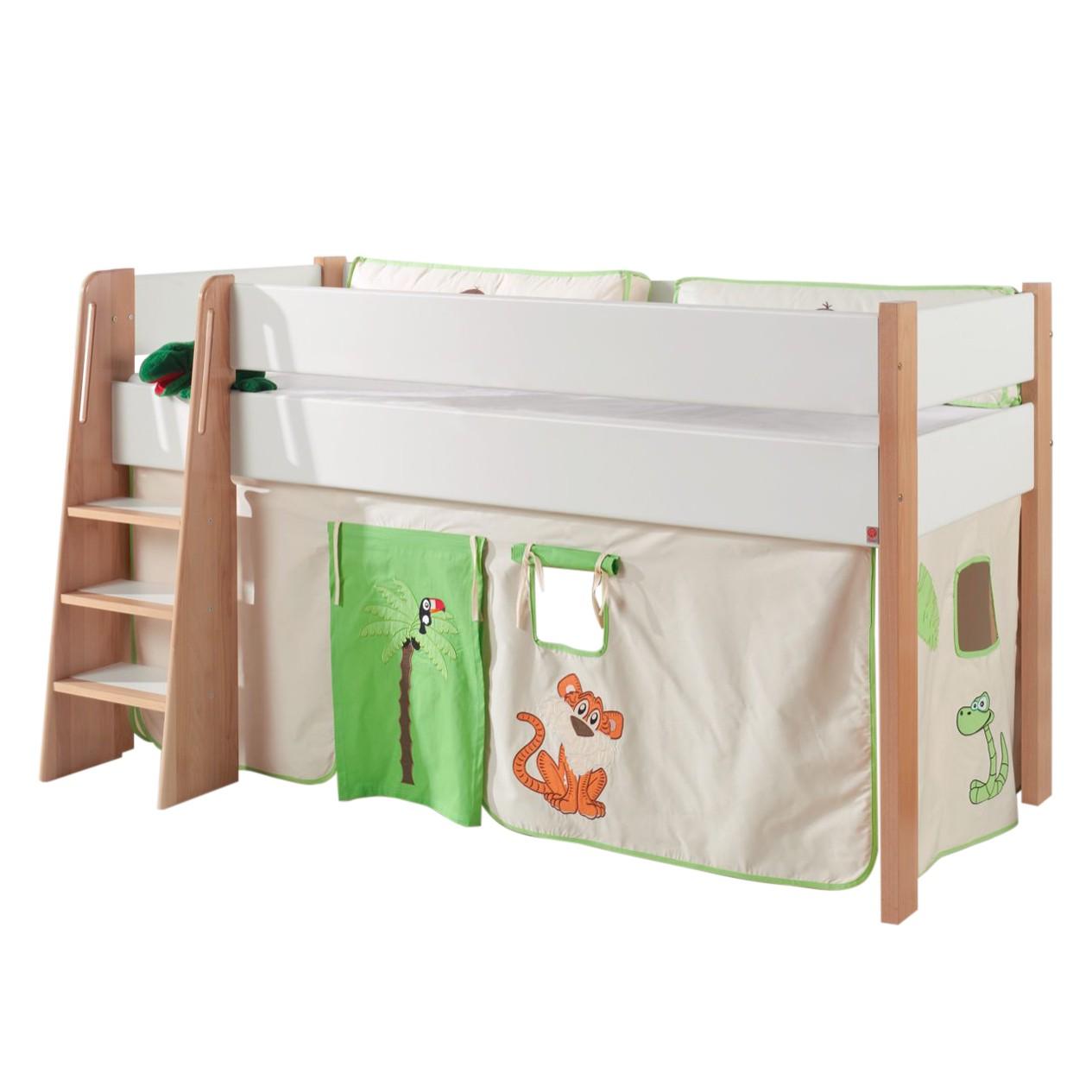 Spielbett Sam - Buche massiv / Baumwollstoff - Buche / Weiß / Grün, Relita