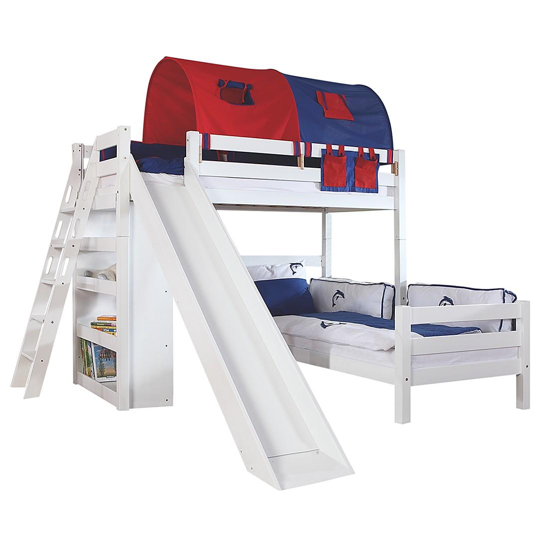 Spielbett Sky - Buche massiv - Weiß/Textil Blau-Rot - mit Rutsche,Regal, Tunnel und Tasche, Relita