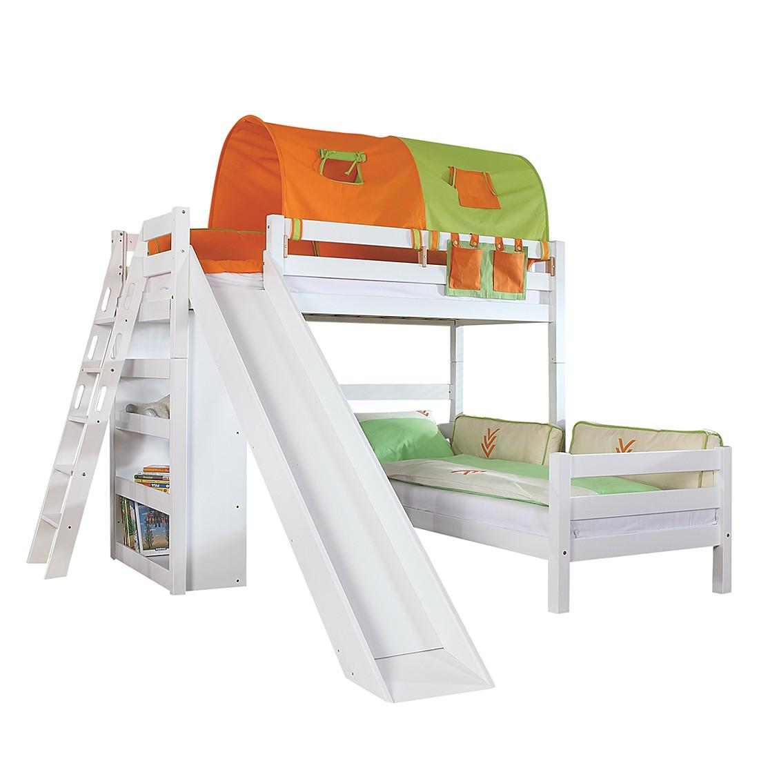 Spielbett Sky - mit Rutsche, Regal, Tunnel und Tasche - Buche massiv weiß/Textil grün-orange, Relita