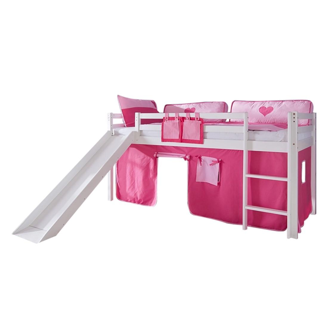Spielbett Toby - Massivholz Buche Weiß lackiert - mit Rutsche und Textilset - Weiß lackiert mit Textilset pink/rosa ohne Turm, Relita