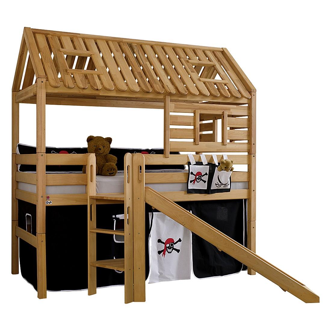Spielbett Tom´s Hütte (mit Rutsche) - Buche massiv/Textil - Geölt/Pirat, Relita