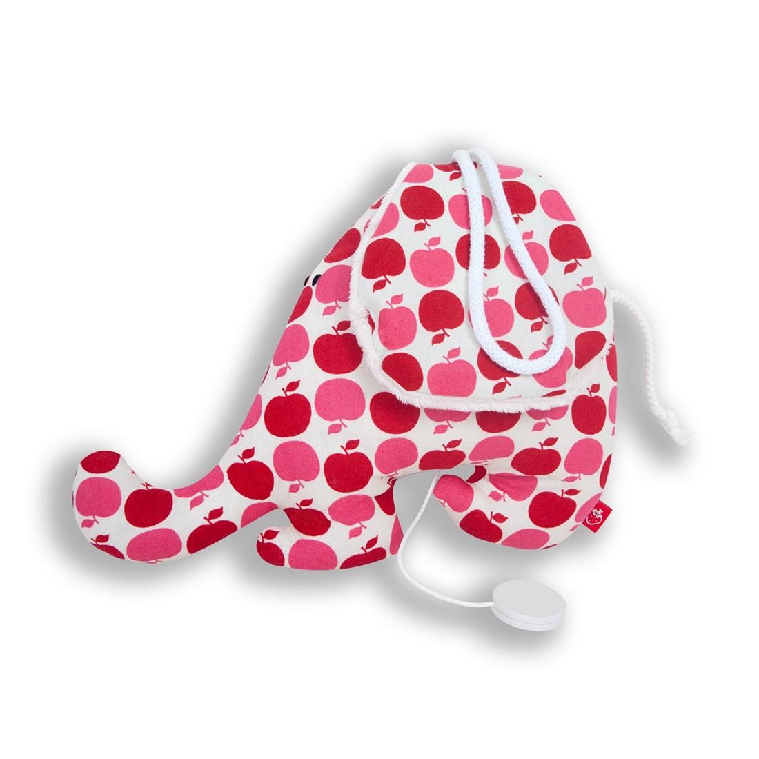 Spieluhr Elefant pomme rouge - Baumwolle - Rote Äpfel, la fraise rouge