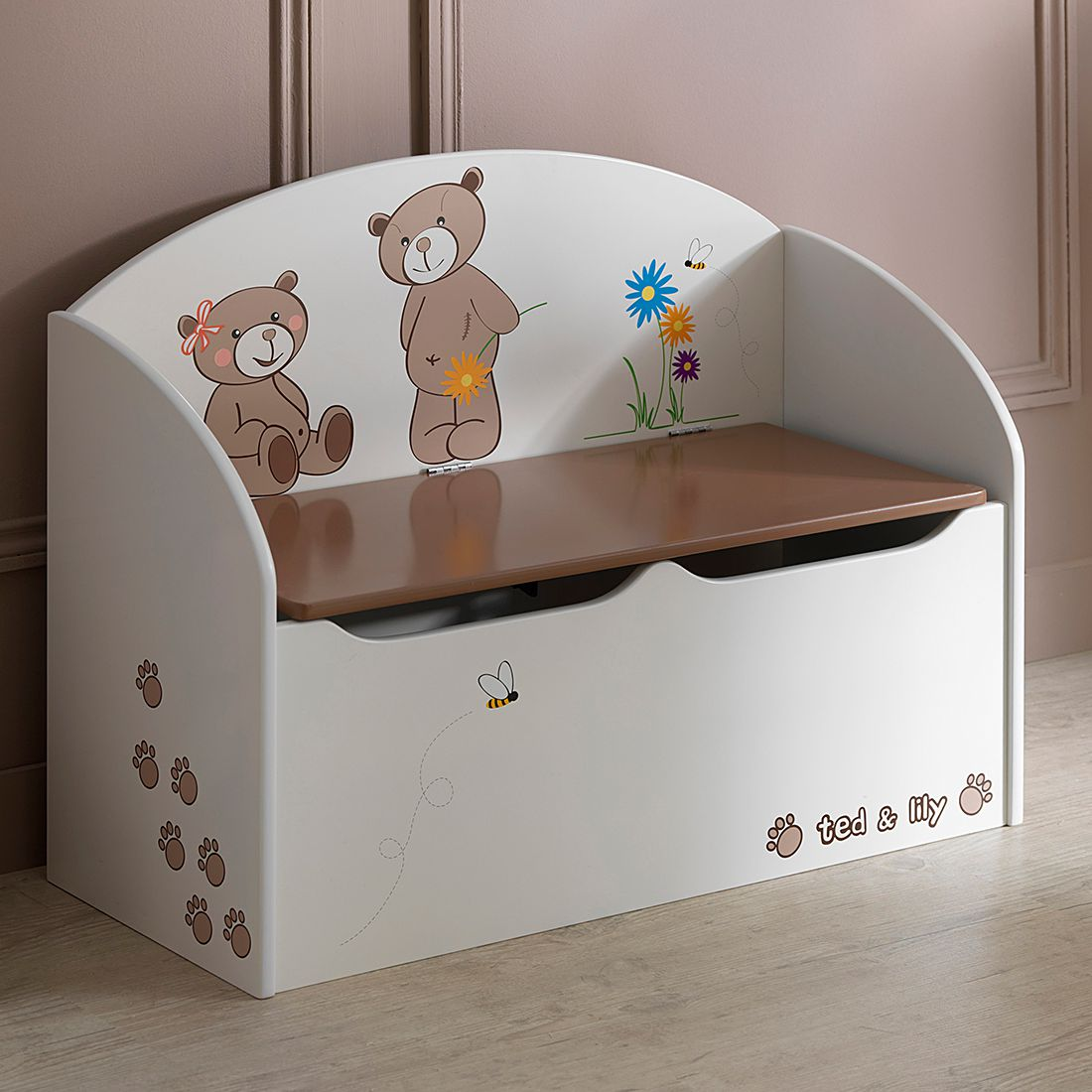 Speelgoedkist Ted - beige - chocoladekleurig, Kids Club Collection