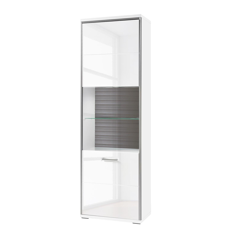 Armoire vitrine Kushiro - Blanc brillant / Gris - Butoir de porte à gauche, loftscape