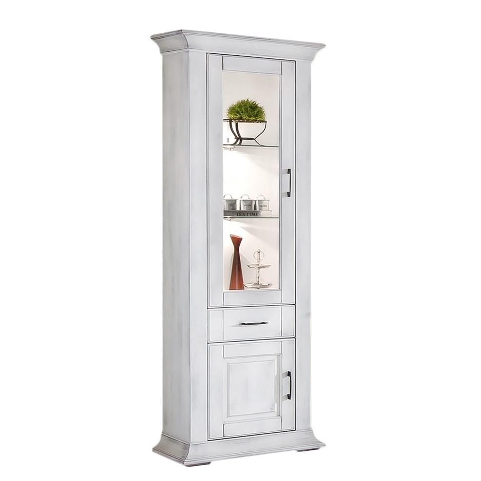 Home 24 - Eek a++, armoire vitrine aylin - peuplier partiellement massif blanc antique - avec éclairage - butoir de porte à gauche, maison belfort