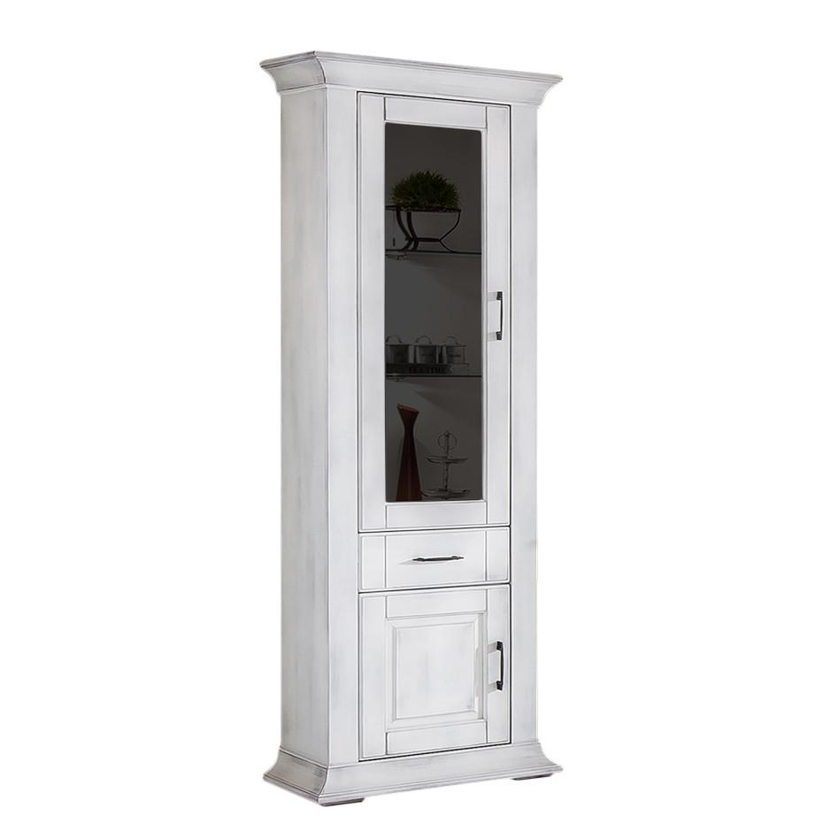Armoire vitrine Aylin - Peuplier partiellement massif Blanc antique - Sans éclairage - Butoir de por