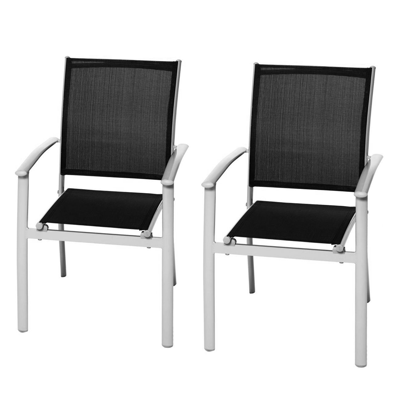 stapelstuhl milano klassik 2er set aluminium schwarz merxx jetzt kaufen. Black Bedroom Furniture Sets. Home Design Ideas
