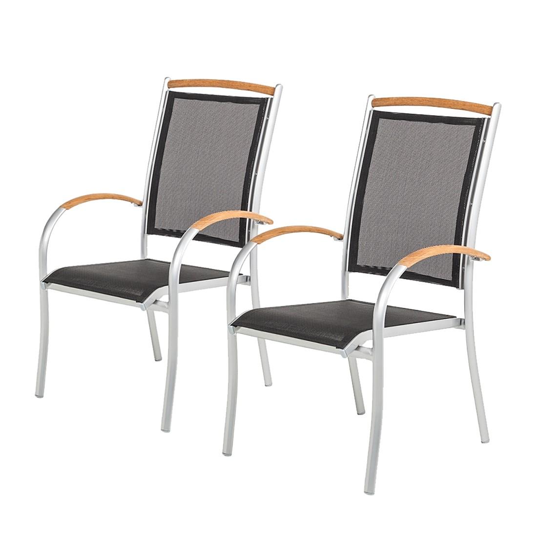 Home 24 - Chaise empilable varu (lot de 2) - aluminium argenté / textile noir, mehr garten