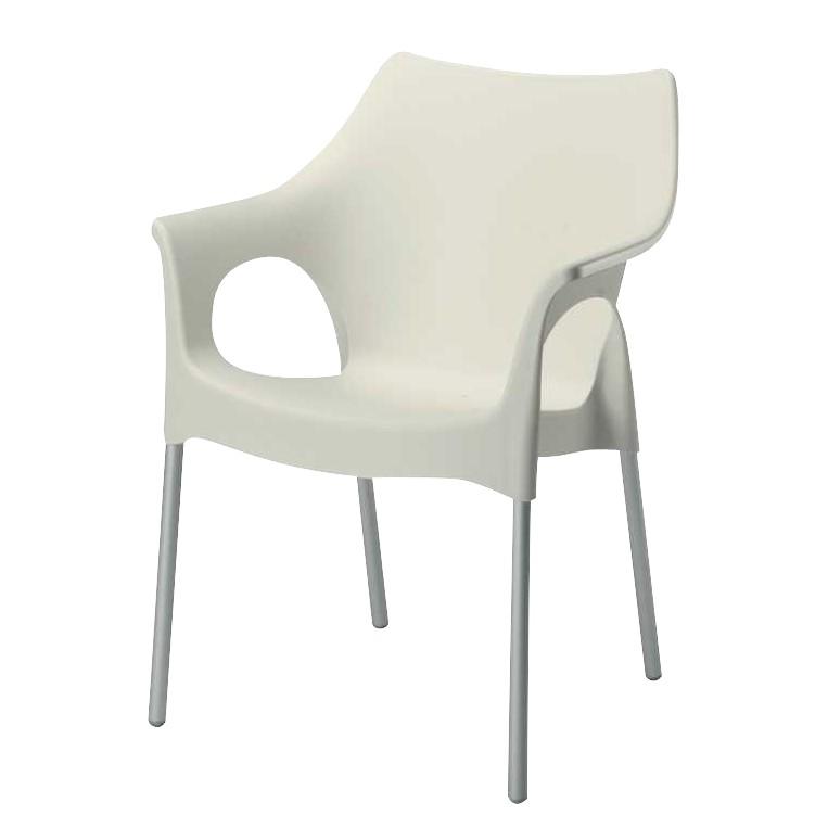 Stapelstuhl Vegas - Aluminium / Kunststoff - Silber / Cremeweiß, Best Freizeitmöbel