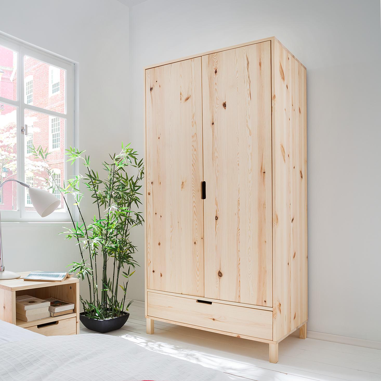kleiderschrank kiydoo wood kiefer massiv schlafzimmer ebay. Black Bedroom Furniture Sets. Home Design Ideas