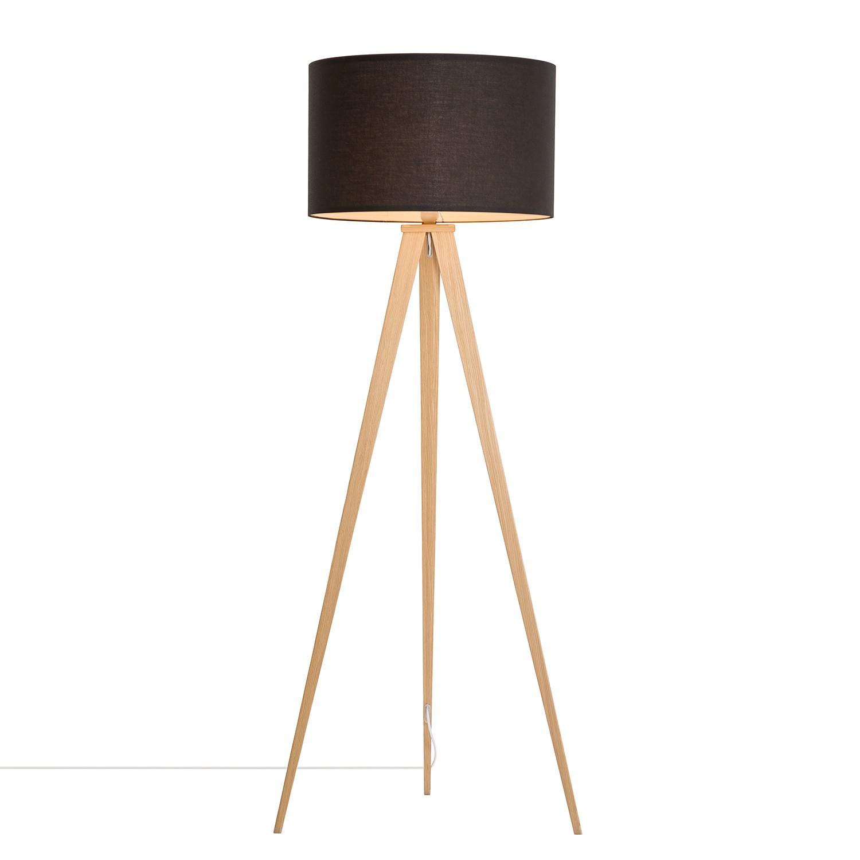 EEK A++, Lampadaire Tripod Iver - Tissu / Acier - 1 ampoule - Imitation hêtre / Noir, Loistaa