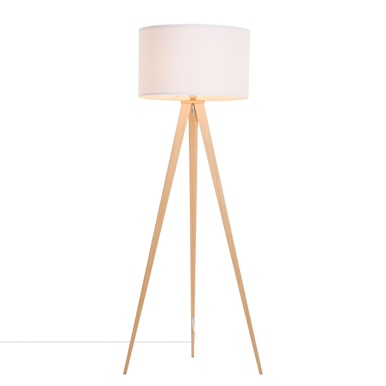energie  A++, Staande lamp Tripod Iver - geweven stof/staal - 1 lichtbron - Beukenhouten look/wit, Loistaa