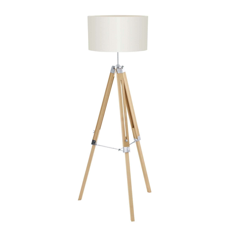 EEK A++, Lampadaire Tripod Lantada - Tissu / Hêtre massif - 1 ampoule - Beige / Hêtre clair, Eglo