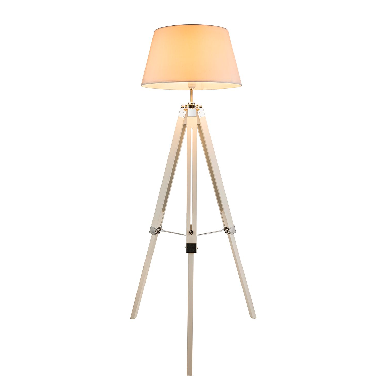 EEK A++, Lampadaire Mareen - Tissu / Pin massif - 1 ampoule - Blanc / Pin, Globo Lighting