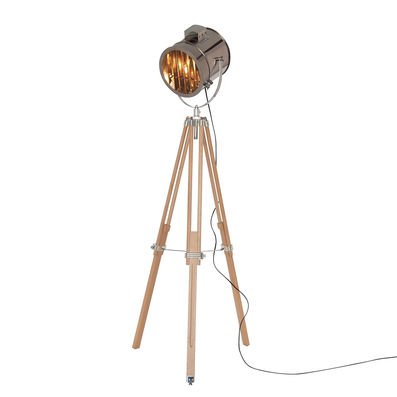 Stehleuchte Sonar - Metall / Massivholz - 1-flammig