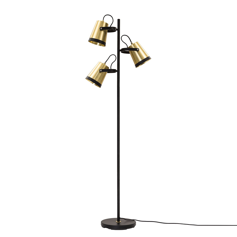 EEK A++, Lampadaire Trend Buckets - Aluminium / Fer - 3 ampoules - Laiton / Noir, Loistaa