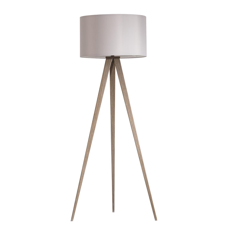 energie  A++, Staande lamp Tripod Iver - geweven stof/staal - 1 lichtbron - Truffeleikenhouten look/steengrijs, Loistaa