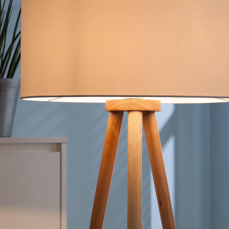 Stehleuchte Tripod Stabilo Massivholz Webstoff STEHLAMPE STEH LAMPE ...
