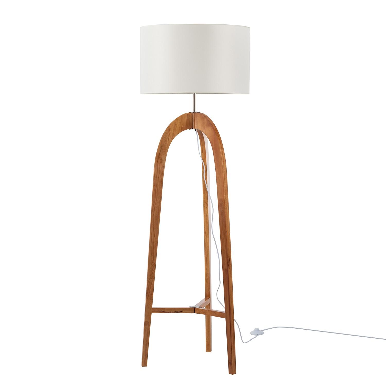 energie  A++, Staande lamp Varn - katoen/massief grenenhout - 1 lichtbron - Beige/pijnboomhout, Loistaa