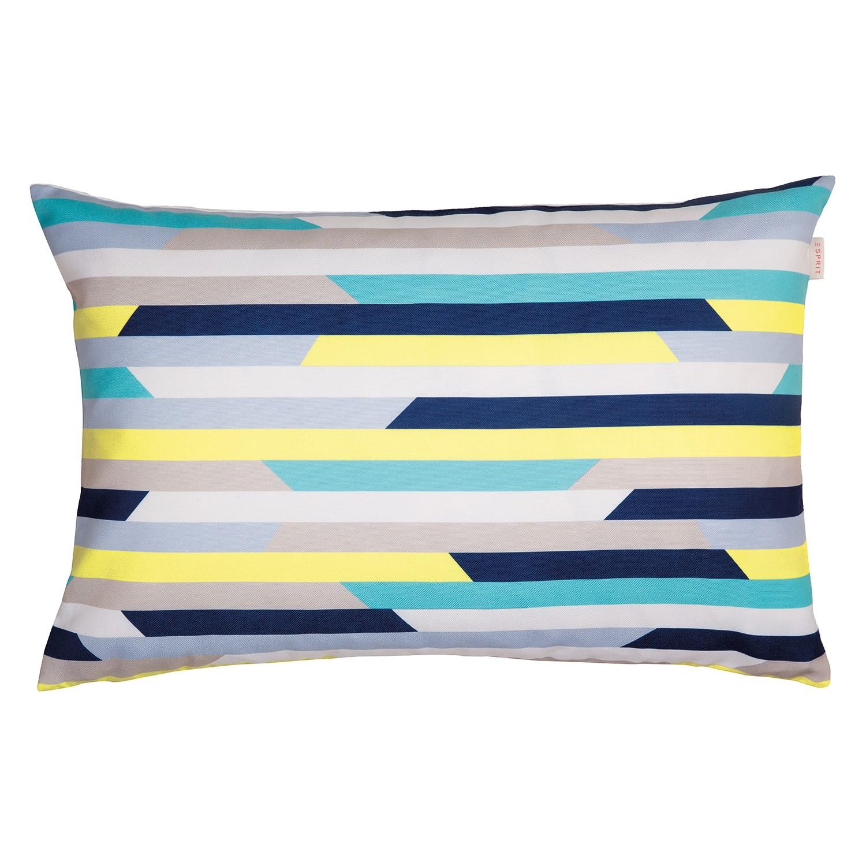 Kussensloop Slow - geweven stof - blauw/geel, Esprit Home