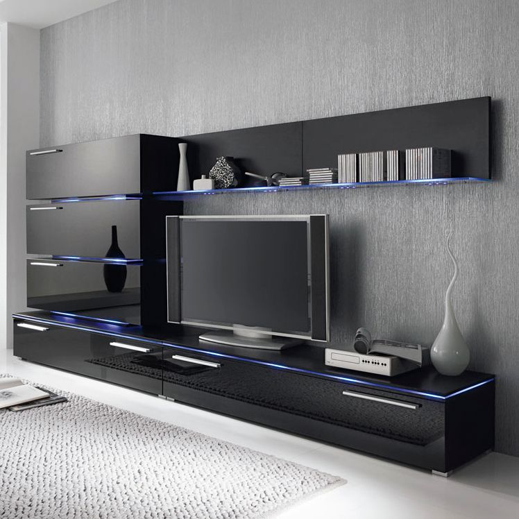 Ensemble de meubles TV Stripe I - Noir brillant, Fredriks