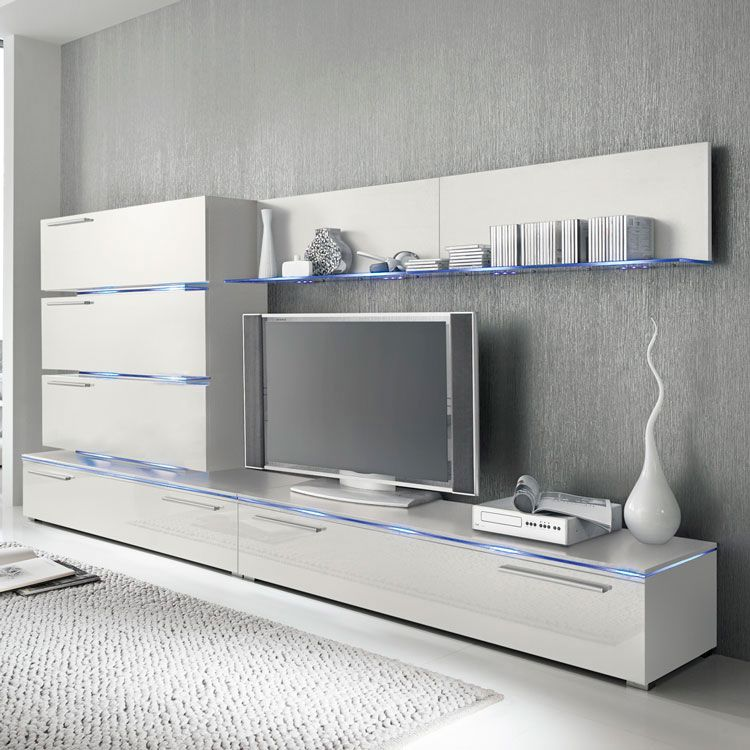 Ensemble de meubles TV Stripe I - Blanc brillant, Fredriks