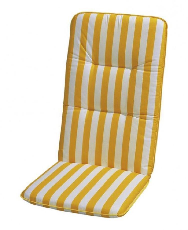 Home 24 - Coussin amovible basic line - rayé jaune / blanc chaise àÂÂ dossier haut - 120 x 50 cm, best freizeitmöbel