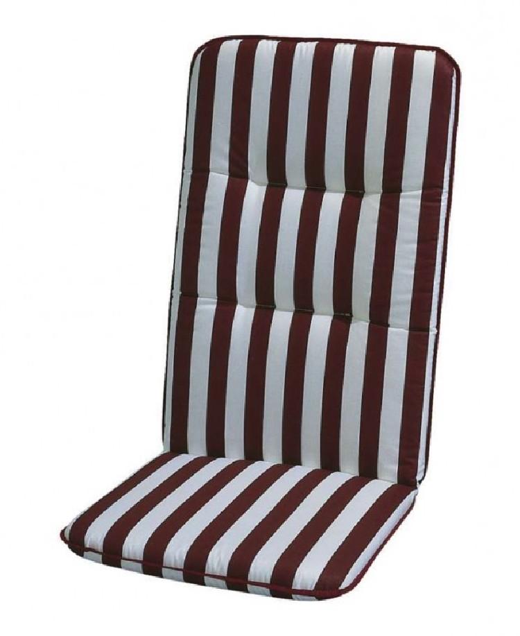 Stoelkussen Basic Line - wit/bordeauxrood gestreept - kussen voor relaxstoel met hoge rugleuning - 175x50cm, Best Freizeitmöbel