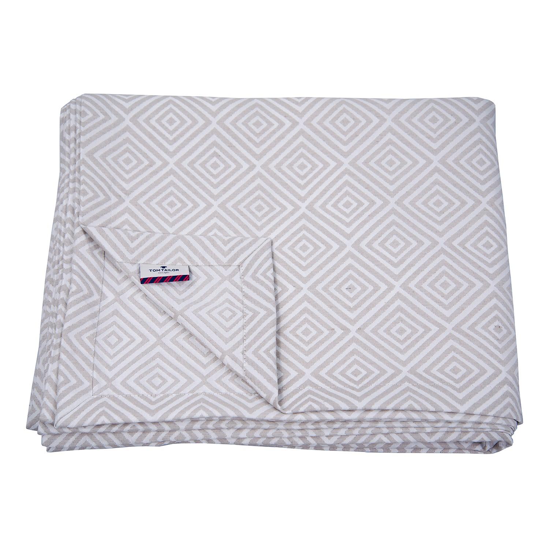 Sprei T-Natural Squares - textielmix - Wit/cappuccinokleurig, Tom Tailor