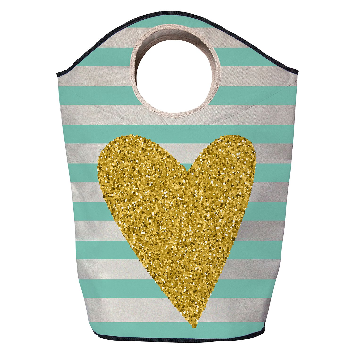 Wasmand gold heart - geweven stof - goudkleurig/turquoise, Butter Kings